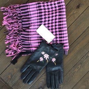 And New Day NWT black Leather Embroidered gloves